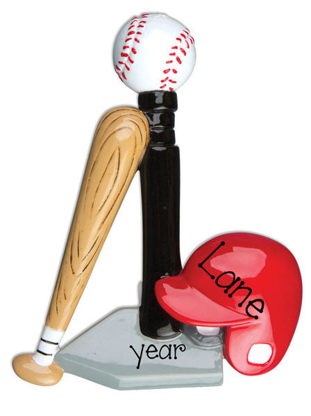 T-BALL WITH HELMET, BALL AND BAT / MY PERSONALIZED ORNAMENTS