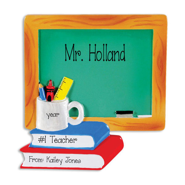 TEACHER'S Chalkboard - Personalized Christmas Ornament