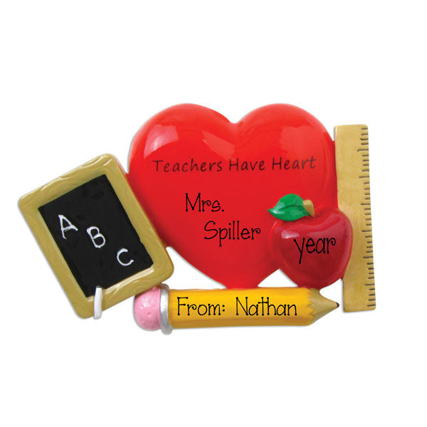 TEACHER WITH APPLE / MY PERSONALIZED ORNAMENTS