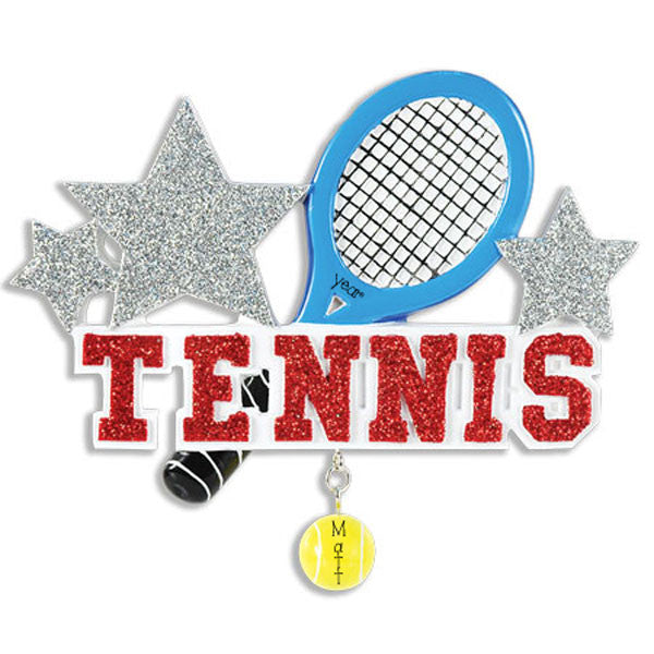TENNIS W/ RED GLITTER Personalized Christmas Ornament