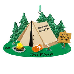 Camping Tent, Boy scouts, cub Scouts, Personalized christmas Ornament