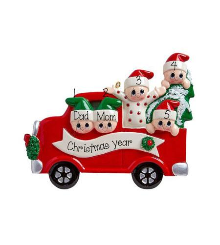 RED TRUCK~Family of 5~Personalized Christmas Ornament