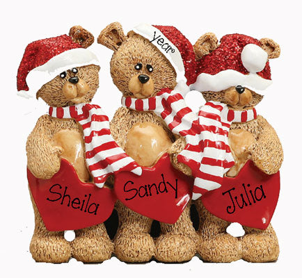 TABLETOP DECOR' 3 Bears w/ Santa Hats