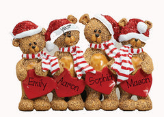 TABLETOP DECOR FAMILY OF 4 bears / MY PERSONALIZED ORNAMENT