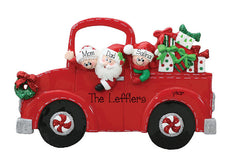 TABLETOP DECOR FAMILY OF 3 IN A RED TRUCK / MY PERSONALIZED ORNAMENT