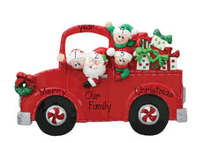 TABLETOP DECOR FAMILY OF 4 IN A RED TRUCK / MY PERSONALIZED ORNAMENT