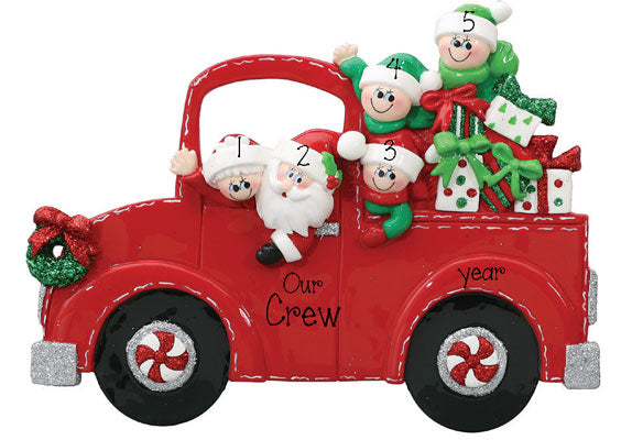 TABLETOP DECOR'  Family of  5~Santa Truck