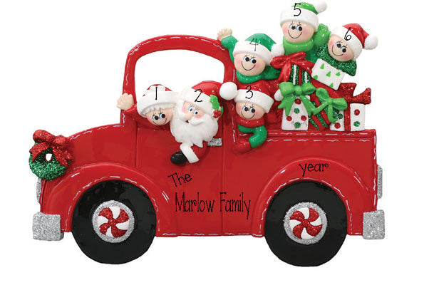 TABLETOP DECOR FAMILY OF 6 IN santas truck / MY PERSONALIZED ORNAMENT