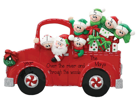 "TABLETOP DECOR'~ Santa's Red Truck ""Family of 7"""