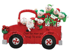 TABLETOP DECOR FAMILY OF 7 IN SANTA'S RED TRUCK / MY PERSONALIZED ORNAMENT