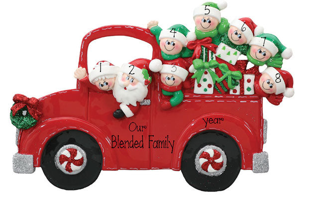 TABLETOP DECOR FAMILY OF 8 IN santas RED TRUCK / MY PERSONALIZED ORNAMENT