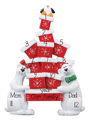 Polar Bear TABLETOP DECOR' For a Family of 9 up to 12 persons, MY PERSONALIZED ORNAMENT