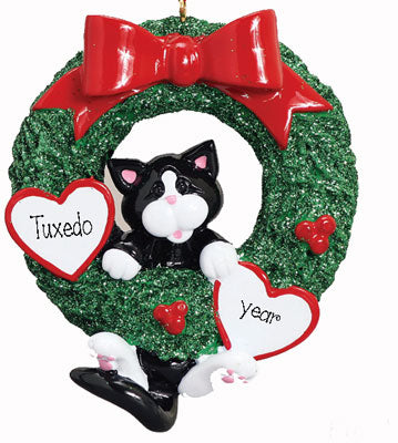 TUXEDO CAT in Green Wreath~Personalized Christmas Ornament