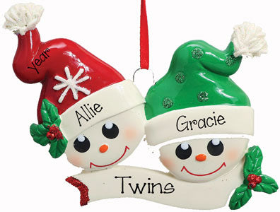 TWINS w/ Green & Red Sock Hats~Personalized Ornament