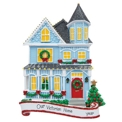 Victorian Blue House~Personalized Ornament