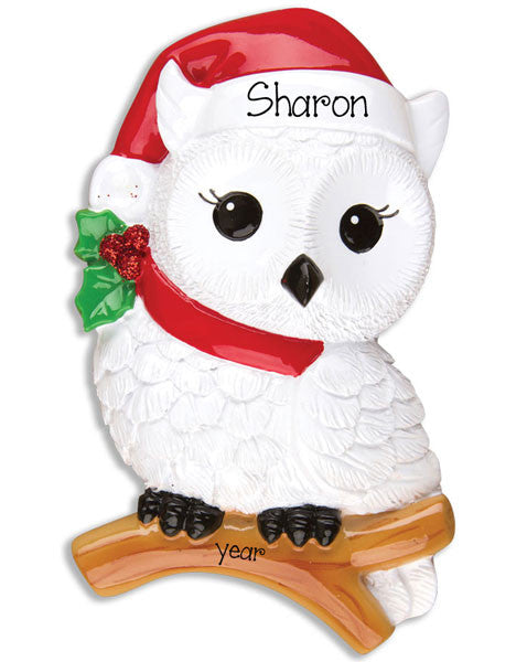 WHITE OWL  Personalized Christmas Ornament