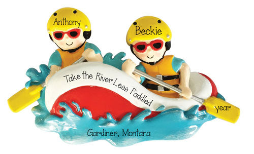 White Water Rafting couple~Personalized Christmas Ornament