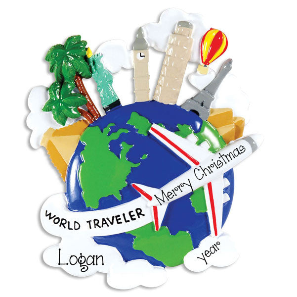 Travel the Globe~Personalized Christmas Ornament