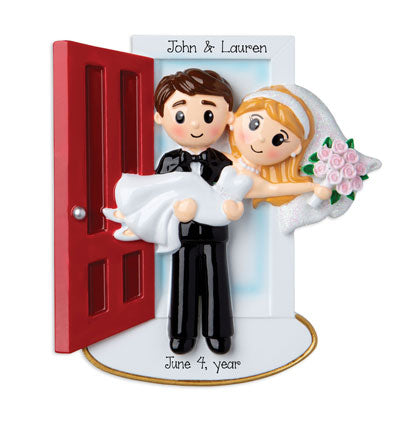 Just Married and Carrying his Bride thru the Threshold~Personalized Christmas Ornament