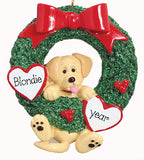 YELLOW LAB IN GREEN WREATH ORNAMENT / MY PERSONALIZED ORNAMENTS