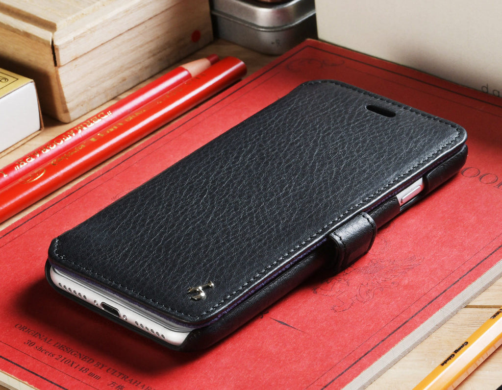 best website 8f95c b6d16 Black Napa Genuine Leather Book Style Wallet Case for Apple iPhone 7 /  iPhone 8