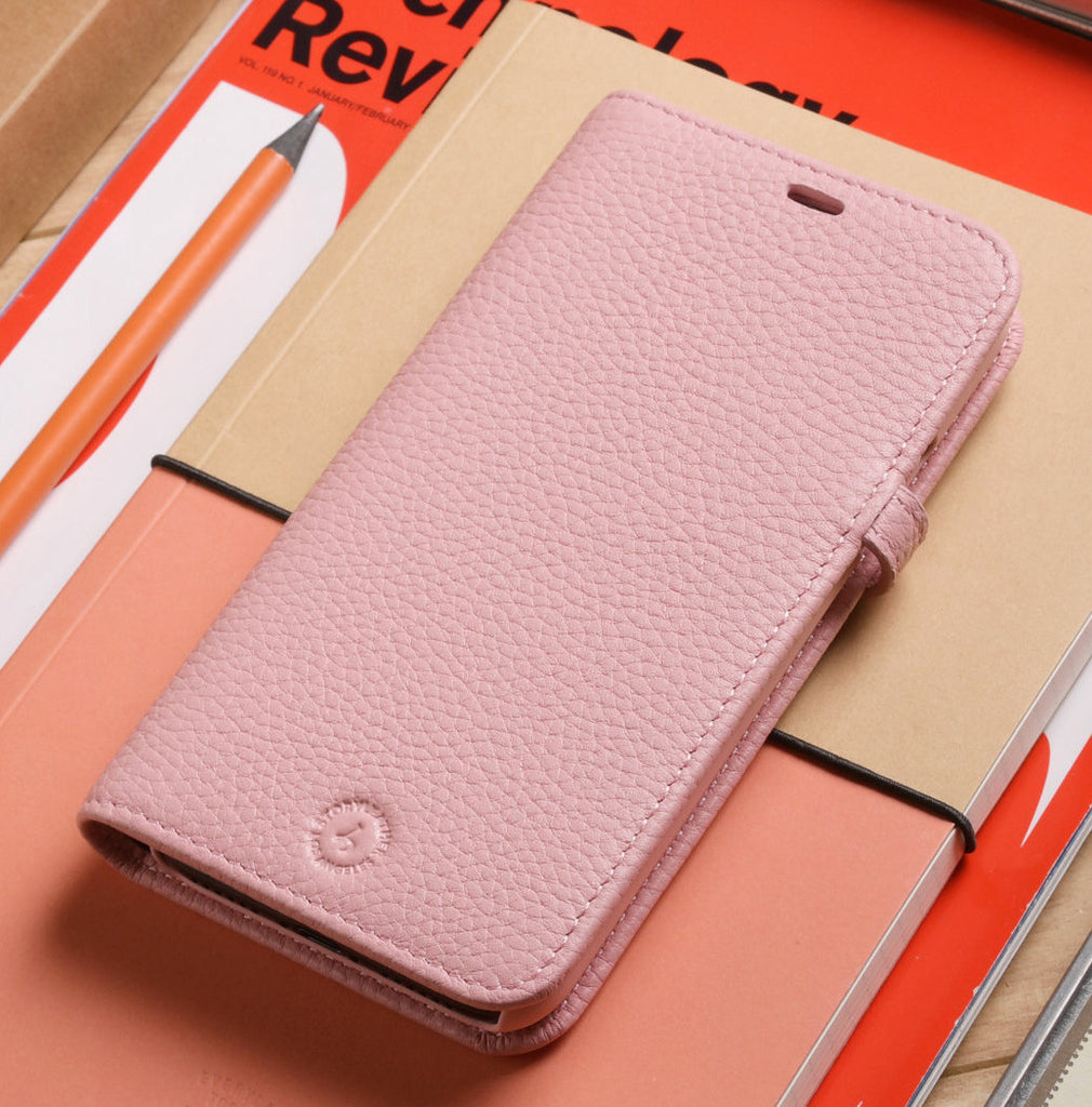 innovative design 17d38 d288f Apple iPhone X / iPhone 10 Genuine Leather Wallet Case in Pink Pebble Grain  Genuine Leather