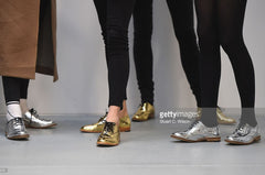 Luke Grant-Muller gold and silver brogues at fyodorgolan AW16 LFW.