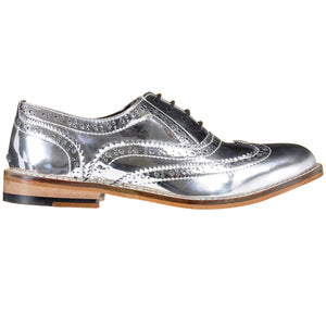 Mirror Finish Silver Brogue Shoes Pre-Order