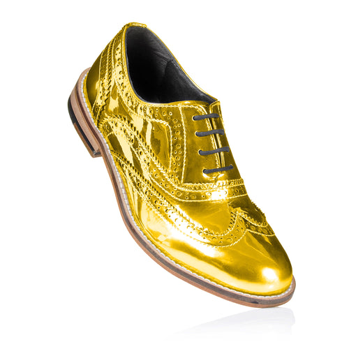 Mirror Finish Gold Brogue Shoes Pre-Order