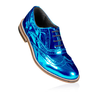 Navy Blue Metallic Brogue Shoes Pre-Order