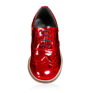 Metallic Red Brogue Shoes Pre-Order