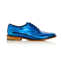 Navy Blue Metallic Brogue Shoes