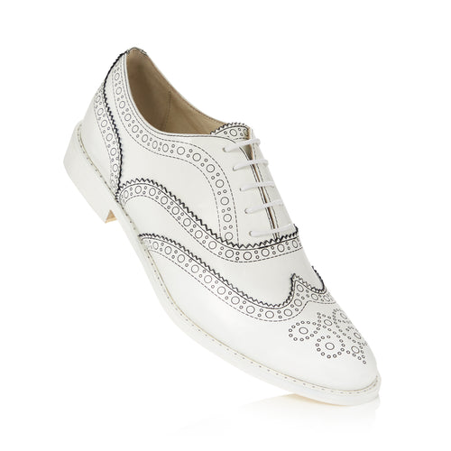 Black Outline White Brogue Shoes