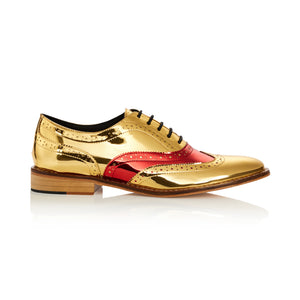 Two-Tone Red Vamp Gold Brogue Shoes