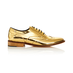 Mirror Finish Gold Metallic Brogue Shoes