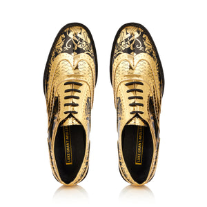 Kama Shoetra Gold and Black Brogue Shoes