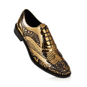 Kama Shoetra Gold and Black Laser etched Brogue Shoes