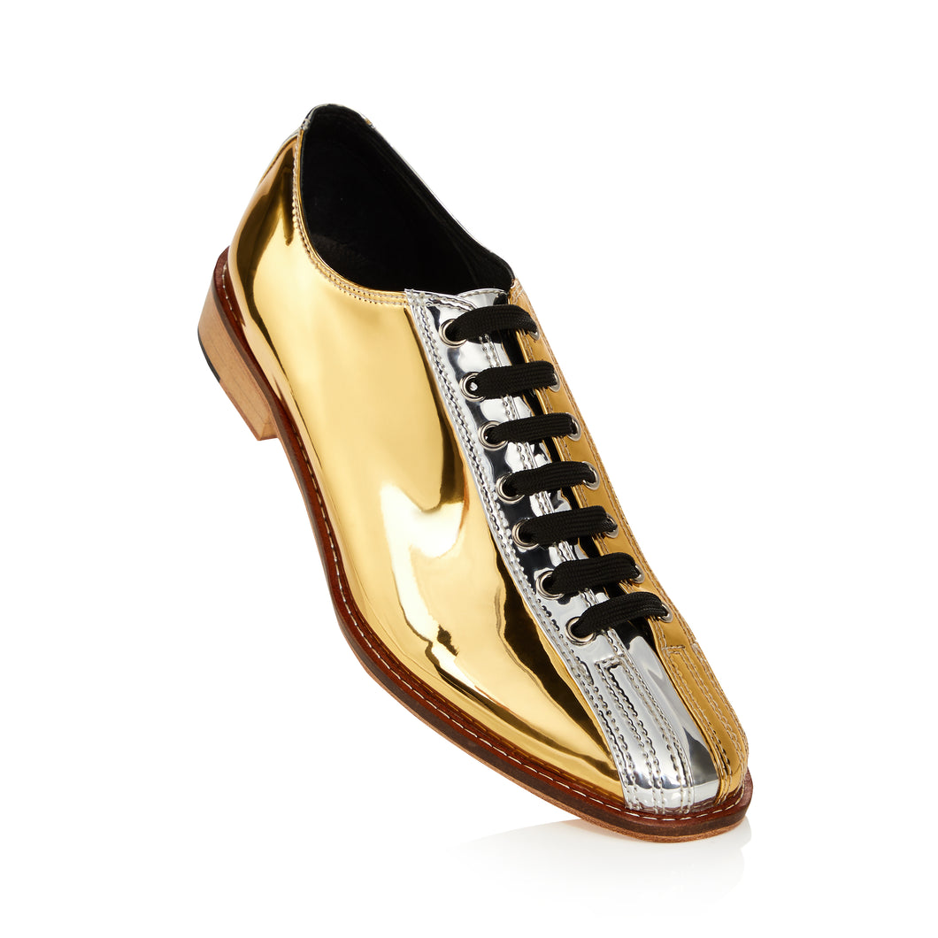 Two-Tone Silver and Gold Bowling Shoes