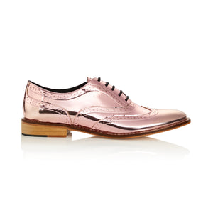 Baby Pink Metallic Brogues