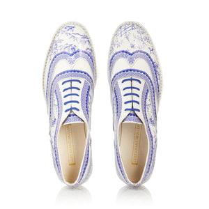 Qinghua Porcelain Blue and White Patent Brogue Shoes