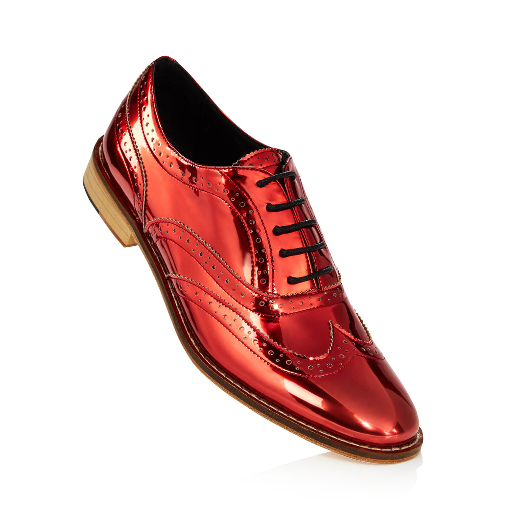 Red Metallic Brogue Shoes