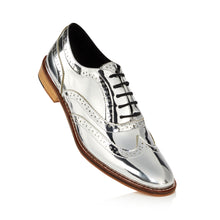 Mirror Finish Silver Brogue Shoes