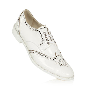 Patent White Wingtip Derby Shoes with Black Brogueing