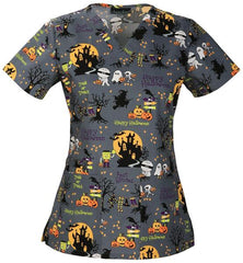 """Ghouls Night Out"" Halloween Scrubs top"