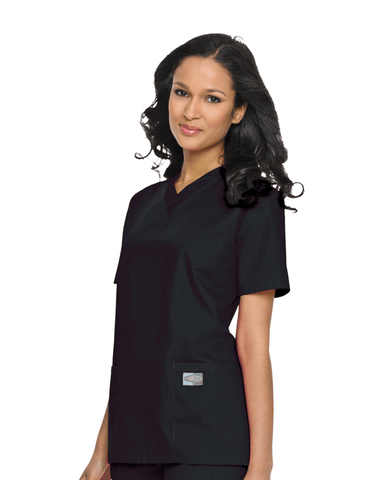 Women's Double Pocket V-Neck Top - Black