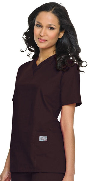 Women's Double Pocket V-Neck Top - Brown