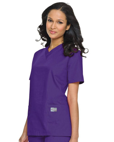 Women's Double Pocket V-Neck Top - Grape