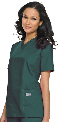 Women's Double Pocket V-Neck Top - Hunter Green