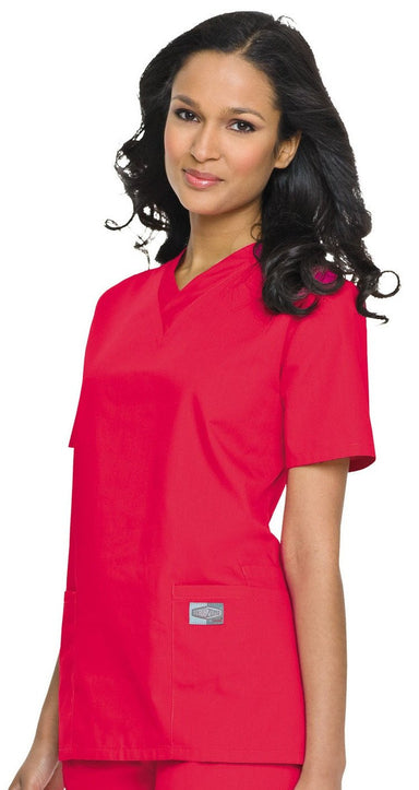 Women's Double Pocket V-Neck Top - Red