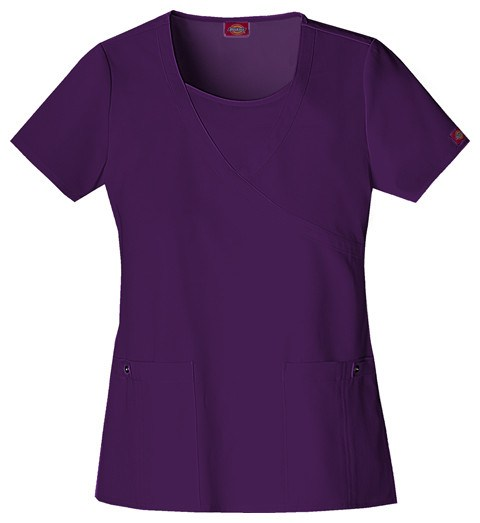 Women's Extreme Stretch Mock Wrap Top - Eggplant